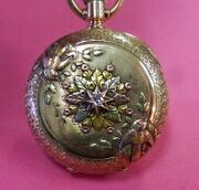 Ladies C1888 Solid 14k Tricolor Gold And Diamond Elgin Pocket Watchruns 3/0s