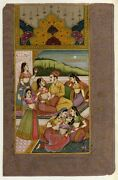Handmade Indian Miniature Painting Old Mughal Harem Art - Gouache And Gold Work