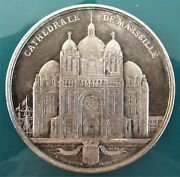 France -1855- City Of Marseille Cathedral -silver By Bovy -very Rare