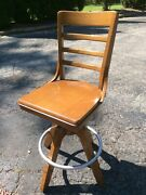 Vtg Wood Library Swivel Adjustable 25andrdquo To 29andrdquo Stool W/ Chrome For Rail Very Good