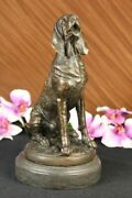 Art Deco French Bronze Study Of A Seated Bloodhound Puppy Hot Cast Decorative