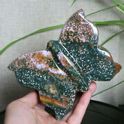 A9435-1219g Rare Natural Colored Ocean Jasper Carving Butterfly Healing