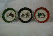1960's Vintage China Coasters With Pictures Of Antique Cars