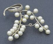 Womens Brooch 9ct White Gold And Pearl Fine Fashion Vintage Collectable