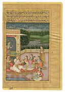 Mughal Art Painting Of Emperor And Empress Enjoying Wine On Terrace Home Decor Art