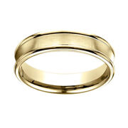 18k Yellow Gold 5.5 Mm Comfort Fit Concave Round Edge Satin Center Band Ring 12