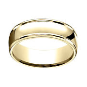 18k Solid Yellow Gold 7mm Comfort Fit High Polish Round Edge Band Ring Sz 13
