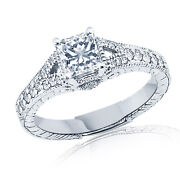 Simulated Princess Diamond Solitaire With Accents Wedding Ring 14k White Gold