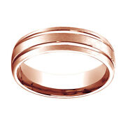 14k Rose Gold 6mm Comfort Fit Satin Finish W/ Parallel Grooves Band Ring Sz 5