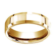 10k Yellow Gold 6mm Comfort Fit High Polished Carved Design Band Ring Sz 13