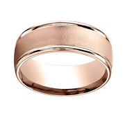 8mm Comfort Fit Wire Brush Finish Round Edge 14k Rose Gold Band Ring Sz 12
