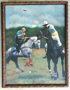 Horse / Polo Pony Mid-century Large Vintage Oil On Canvas Painting Antique Frame