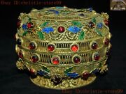 Chinese Dynasty Pure Silver Filigree 24k Gold Gilt Inlay Gem Jewelry Box Boxes
