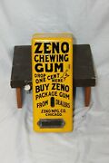 Early 1900s Zeno Chewing Gum Yellow Porcelain Vending Machine With Keys