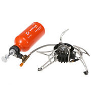 Camping Stove Set Outdoor Portable Hiking Fuel Oil Alcohol Burner W/gas Bottle