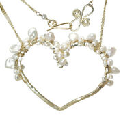 Hammered Heart Wrapped W/ Ivory Keshi And Seed Pearls Necklace - Usa Handcrafted