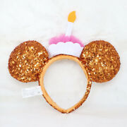 Disney Parks Gold Birthday Cake Candle Mickey Minnie Mouse Sequin Ears Headband