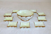 Haviland Clemens La Seynie Pp France Limoges Footed Bowl And 9 Butter Pats Salts