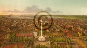View Of Baltimore City Md. Looking South Andcopy 1872 Birdand039s-eye View Reprint