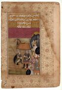 Mughal Miniature Painting Of Royal Warriors Of The Mughal Empire On Old Paper