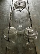 Three Vintage Atlas Clear Glass Canning Jars-great Farmhouse Decor-two With Lids
