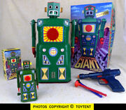 Shooting Giant Robot And Son Signed John Rigg Battery Op + Dart Gun And Wind-up