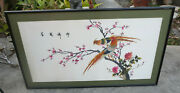 Vintage Large Chinese Bird And Flowers Silk Embroidery Tapestry Art Framed