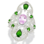 Meherand039s Jewelry 4.97ctw Kunzite And Chrome Diopside Shield Ring Almost Gone