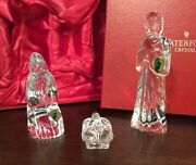 Waterford Crystal Gorgeous 3 Piece Christmas Nativity Set New In Original Box
