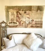 Antique French Carousel Tapestry Painting Goddess W/ Cherubs Incredible