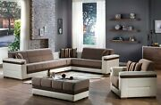 Moon Sectional Chair And Ottoman Livingroom Set 3 Pcs Choice Of 2 Colors