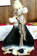 Vintage Cow Statue Flat Cows Black And White Cows Unusual Very Thin Super Rare