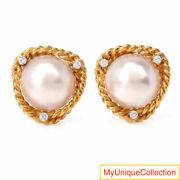 Cellino Diamond Mabe Pearl 18k Yellow Gold Large Earrings