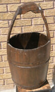 Antique Well Bucket Stave Wood And Banded Iron Water Pail Piggen Large Primitive