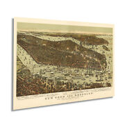 1892 Map Of New York And Brooklyn With Jersey City And Hoboken Vintage Wall Art