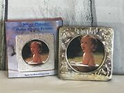 Baby Birth Record Picture Vintage Silver Plated Photo Frame 4 Engrave Name