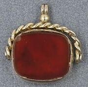 Vintage Carnelian And Bloodstone Spinner Pendant 9ct Yellow Gold Fine Jewelry