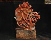 9chinese China Feng Shui Shoushan Stone Carved Flower Lotus Lucky Bird Statue