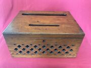 Antique Arts And Crafts / Wooden Oak Church Prayer Offering Collection Box
