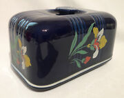 Hall China Blue Blossom Bingo Covered Butter Dish 231g