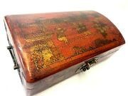 Antique 19th Chinese Red Lacquer Box Raised Gilt Painted Kids Playing