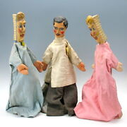 Set 3 1900and039s Dentist Paper Mache Headed Puppets 2 Toothbrush + Dentist Wpa