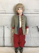 Vintage Jointed Wwi Soldier Bisque Doll Leather Body 14