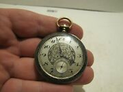 Antique Longines Pocket Watch .955 Sterling Silver Case Runs For Parts/repair