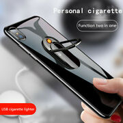 Electric Phone Lighter Ring Stand Usb Windproof Flameless Rechargeable Portable