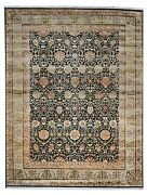 9andtimes12 Handknotted Silk/wool Rug Colors Ivory Gray Blue Red Green Yellow 1/2and039p
