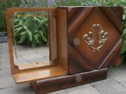 Art Deco Kitchen Apothecary Medicine Wall Bathroom Cabinet Wood Ornate Glass