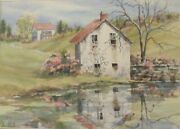 Original Sandra Giangiulio Watercolor Painting Chester Co. Pa Spring Landscape