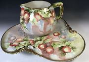 15 Limoges Hand Painted Tray And Pitcher