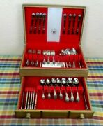 Oneida 1881 Rogers Stainless Flatware 552 Arbor Rose - Service For 20 W/chest